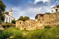 City landscape - Orthodox church and ancient ruins in the town of Sozopol Royalty Free Stock Photo