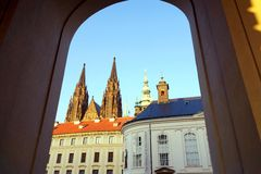 City landscape. Praga, Czech Republic in the sunset royalty free stock images
