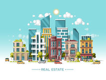 City landscape. Real estate and construction business concept. Flat vector illustration. 3d style. City landscape. Real estate and construction business concept Royalty Free Stock Images