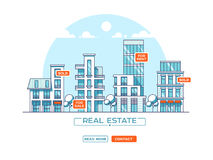 City landscape. Real estate and construction business concept with houses. Line style. Vector illustration. City landscape. Real estate and construction Stock Images