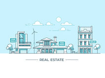 City landscape. Real estate and construction business concept with houses. Line style. Vector illustration. Royalty Free Stock Photography