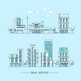 City landscape. Real estate and construction business concept with houses. Line style. Vector illustration. City landscape. Real estate and construction Stock Image
