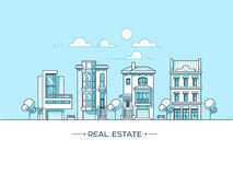 City landscape. Real estate and construction business concept with houses. Line style. Vector illustration. Royalty Free Stock Photo