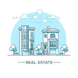 City landscape. Real estate and construction business concept with houses. Line style. Vector illustration. Stock Image