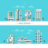 City landscape. Real estate and construction business concept with houses.. Vector illustration Royalty Free Stock Photography