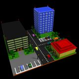 City landscape in retro voxel style. City landscape with three buildings & x28;apartment building, business center, and cafe& x29;, parking lots, cars, trees Royalty Free Stock Photo