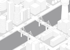 City Landscape(river and bridge), line drawing illustration Royalty Free Stock Images
