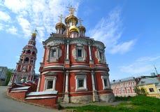 City landscape with river and Stroganov Church in Nizhny Novgorod. NIZHNY NOVGOROD, RUSSIA - May 15, 2013: City landscape with river and Stroganov Church Royalty Free Stock Photography
