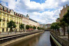 City landscape and river Tepla in Karlovy Vary Stock Photo