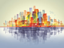 City Landscape scene. Colorful city scene with reflection in water Stock Photography
