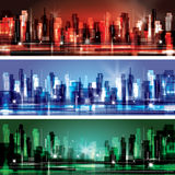 City Landscape scene. Colorful city scene headers with lights at evening time Royalty Free Stock Images