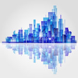City Landscape scene. Abstract, stylized city scene in blue color with reflection in water Stock Photos