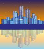 City Landscape With Silhouette. Vector illustration of a city at night time with its shadow Royalty Free Stock Photo