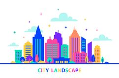 City landscape. Silhouettes of buildings with neon glow and vivid colors. City landscape template. Flat style. Illustration in neon vivid colors. Cityscape Royalty Free Stock Image
