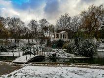 Winter garden in Simferopol. City landscape of Simferopol. Crimea stock photo