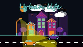 City landscape in a simple flat style with skyscrapers houses expensive trees with fanbers and cars against the sky, clouds stock illustration