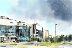 City landscape.  Sketch ink and watercolor. royalty free stock photos