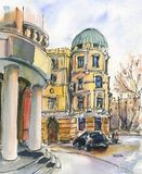 City landscape.  Sketch ink and watercolor. Hand-drawn illustration royalty free stock image
