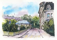 City landscape.  Sketch ink and watercolor. Hand-drawn illustration stock images