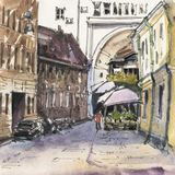City landscape.  Sketch ink and watercolor. Hand-drawn illustration royalty free stock photo