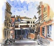 City landscape.  Sketch ink and watercolor. Hand-drawn illustration vector illustration