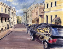 City landscape. Sketch ink and watercolor. Hand-drawn illustration Royalty Free Stock Photos
