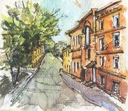 City landscape.  Sketch ink and watercolor. Hand-drawn illustration stock photo