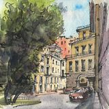 City landscape.  Sketch ink and watercolor. Hand-drawn illustration royalty free stock images