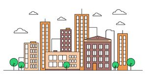 City landscape skyline concept with buildings, scyscrapers, trees and clouds. Design concept. Vector illustration. Editable stroke. Colourful. Isolated on vector illustration