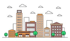 City landscape skyline design concept with buildings, scyscrapers, trees, clouds and cafe. Vector, graphic illustration. Editable. Stroke. Colourful. Isolated stock illustration