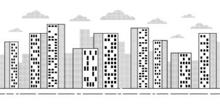 City landscape with skyscrapers - simple contour drawing royalty free illustration