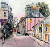 City landscape. City street in the evening.  Sketch ink and watercolor. Hand-drawn illustration Royalty Free Stock Photography