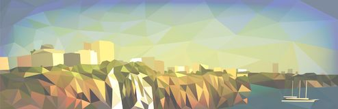 City landscape in the style of polygonal graphics stock illustration