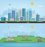 City landscape and suburban landscape. Building architecture, cityscape town. Modern city and suburb. Vector Royalty Free Stock Photography