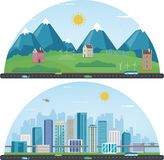 City landscape and suburban landscape. Building architecture, cityscape town. Modern city and suburb. Vector Stock Photo