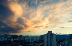 thick cloud on city sunset Stock Image