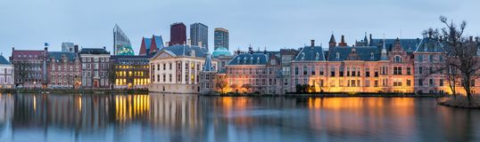 City Landscape, sunset panorama - view on pond Hofvijver and complex of buildings Binnenhof in from the city centre of The Hague. The Netherlands stock photography