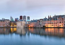 City Landscape, sunset panorama - view on pond Hofvijver and complex of buildings Binnenhof in from the city centre of The Hague. The Netherlands royalty free stock photography
