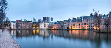 City Landscape, sunset panorama - view on pond Hofvijver and complex of buildings Binnenhof in from the city centre of The Hague. The Netherlands royalty free stock images