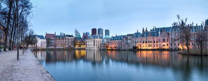 City Landscape, sunset panorama - view on pond Hofvijver and complex of buildings Binnenhof in from the city centre of The Hague. The Netherlands stock image