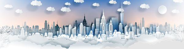 City landscape template. Paper city landscape. Downtown landscape with high skyscrapers. Panorama architecture Goverment buildings. Urban life Vector royalty free illustration