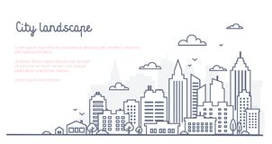 City landscape template. Thin line City landscape. Downtown landscape with high skyscrapers. Panorama architecture stock illustration