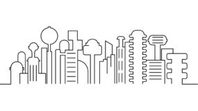 City landscape template. Thin line City landscape. Cityscape, futuristic city Isolated outline illustration. Urban life Vector il royalty free illustration