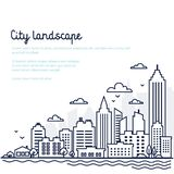 City landscape template. Thin line City landscape. Downtown landscape with high skyscrapers. Panorama architecture. Goverment buildings Isolated outline royalty free illustration