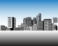City landscape template. Thin line City landscape. Downtown landscape with high skyscrapers. Panorama architecture. City landscape template. Thin line City stock illustration