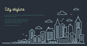 City landscape template. Thin line night City landscape. Downtown landscape with high skyscrapers on dark. Panorama vector illustration