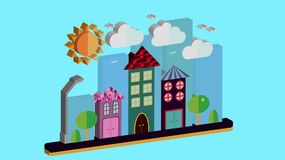 City landscape in three-dimensional flat style. The city with houses with sloping roof and various beautiful tiles with a lantern. Sun-shining clouds and trees Royalty Free Stock Photos