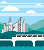 City landscape Train bridge vector Royalty Free Stock Image