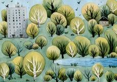 City landscape. Trees, houses, pond stock illustration