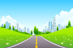 City Landscape with Trees and Road royalty free illustration